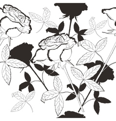 Black and white seamless pattern with flowers-05 vector
