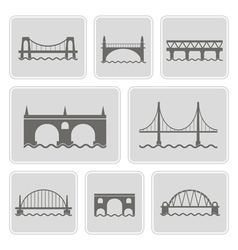 Monochrome icons with different bridges vector