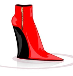 Black-red boot vector