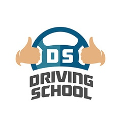 Driving school logo template steering whell with vector