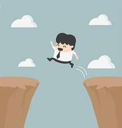 Businessman jumping over the cliff vector