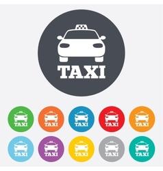 Taxi car sign icon public transport symbol vector