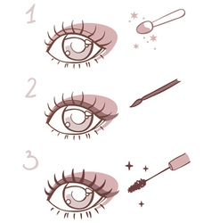 Sequence of stages eye makeup vector