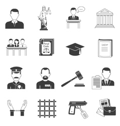Justice black icons set vector