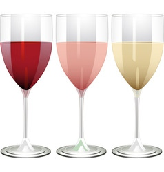 Wine glasses filled with red rose and white wine o vector
