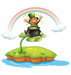 A man above a clover plant with a pot of coins vector