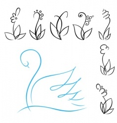 Flowers and swan vector