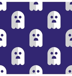 Seamless pattern white ghosts halloween background vector