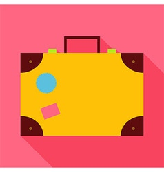 Flat travel suitcase with long shadow vector