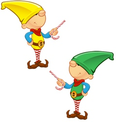 Elf mascot pointing with candy vector