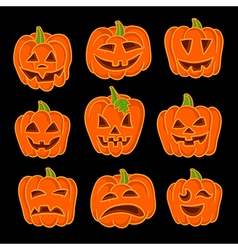 Et of funny jack-o-lanterns on black 6546 vector