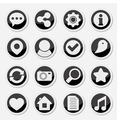 Media social round icons vector