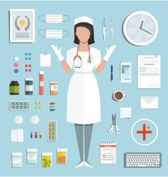 Doctor standing ready to work with pills vector