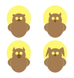 Logo owl bear hare pig on a yellow circle vector