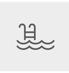 Swimming pool with ladder thin line icon vector