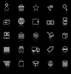E commerce line icons with reflect on black vector