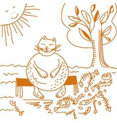 Fat cat after dinner cartoon vector