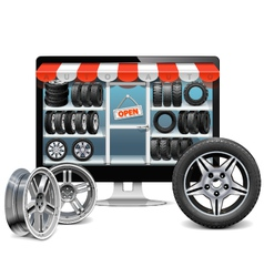 Tire shop concept vector