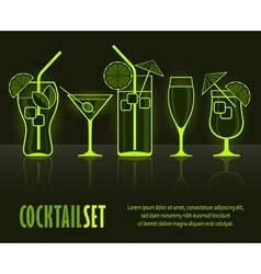 Set of cocktail silhouettes vector