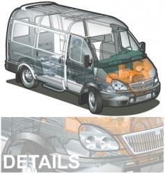 Delivery cargo van cutaway vector