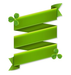 Green ribbon banner with leaves vector