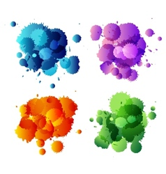 Collection of colorful abstract paint splash vector