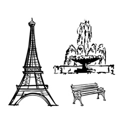 Eiffel tower fountain bench drawn in pencil vector
