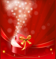 Valentine day background with open gift box vector
