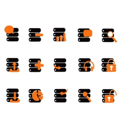 Black database icons vector