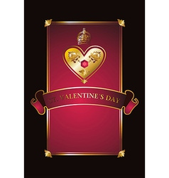 Golden valentine background with diamond heart vector