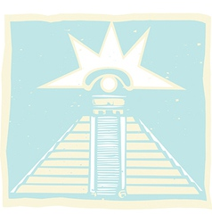Mayan pyramid with venus eye glyph vector