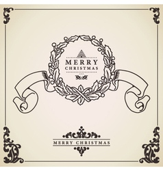 Vintage christmas card wreath vector