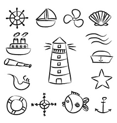 Nautical sketch doodle icons set eps10 vector