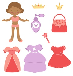 Princess paper doll vector