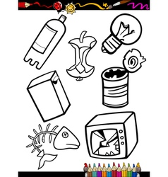 Cartoon garbage objects coloring page vector