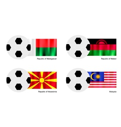 Soccer ball of madagascar malawi macedonia vector