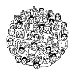 Circle shaped peoples characters vector