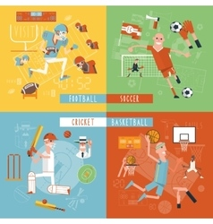 Team sport flat icons square banner vector