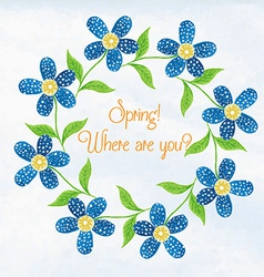 Spring flowers watercolor vignette vector