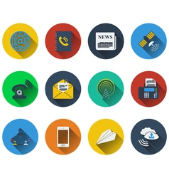 Set of communication icons in flat design vector