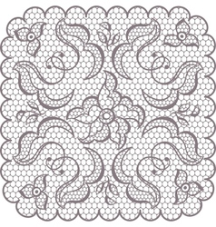 Old lace square background ornamental flowers vector