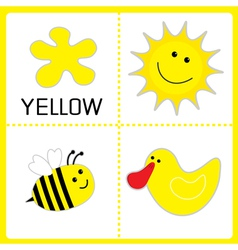 Learning yellow color sun bee and duck educational vector