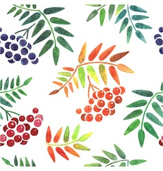 Watercolor leaves and berries seamless pattern vector