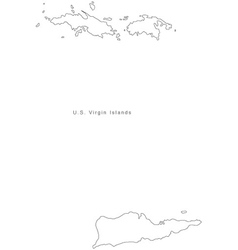 Black white us virgin islands outline map vector