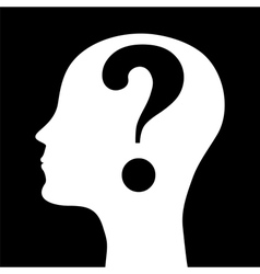 Human head silhouette with a question mark vector