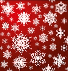 White snowflakes on red vector