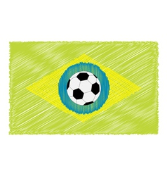 Football soccer ball brazil flag scribble effect vector