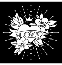 Chalk tattoo heart with ribbon and flowers vector