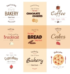 Set of 9 bakery labels vector