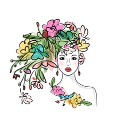 Female face with floral hairstyle for your design vector